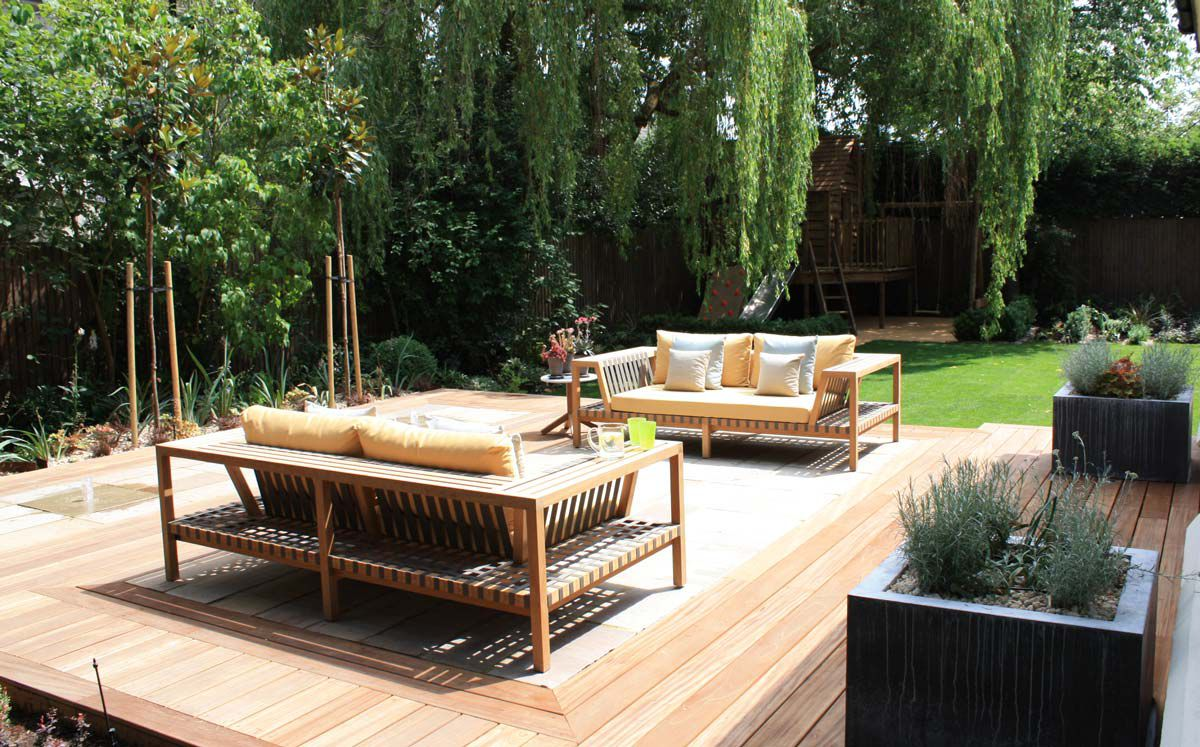 The seating area of a West London garden